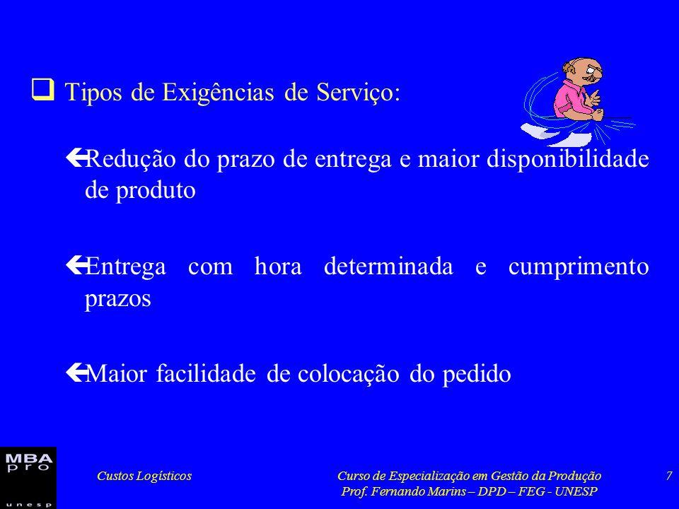 Custos LogísticosCurso de Especialização em Gestão da Produção Prof. Fernando Marins – DPD – FEG - UNESP 7 Tipos de Exigências de Serviço: çRedução do