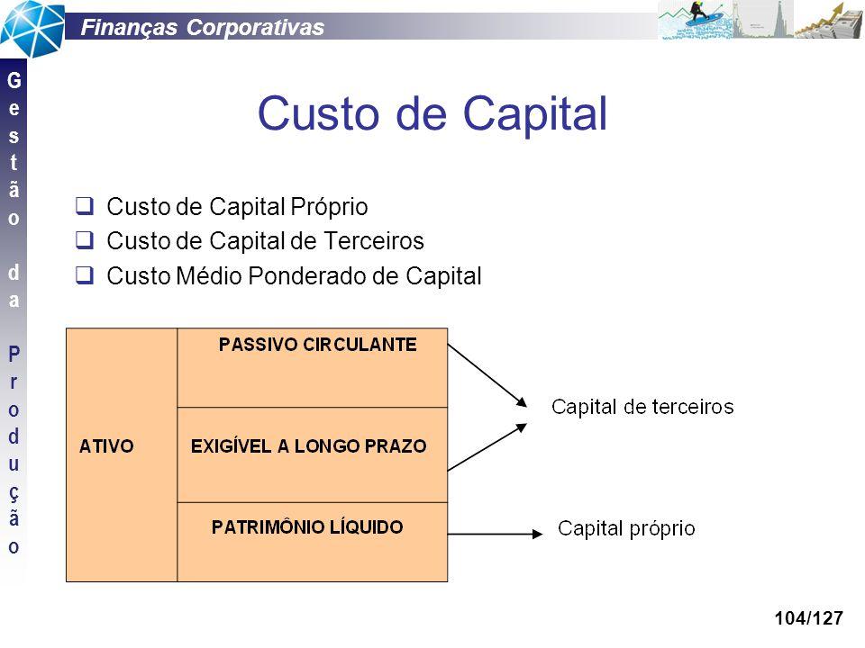 Finanças Corporativas GestãodaProduçãoGestãodaProdução 104/127 Custo de Capital Custo de Capital Próprio Custo de Capital de Terceiros Custo Médio Pon