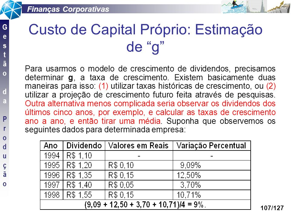 Finanças Corporativas GestãodaProduçãoGestãodaProdução 107/127 Custo de Capital Próprio: Estimação de g Para usarmos o modelo de crescimento de divide