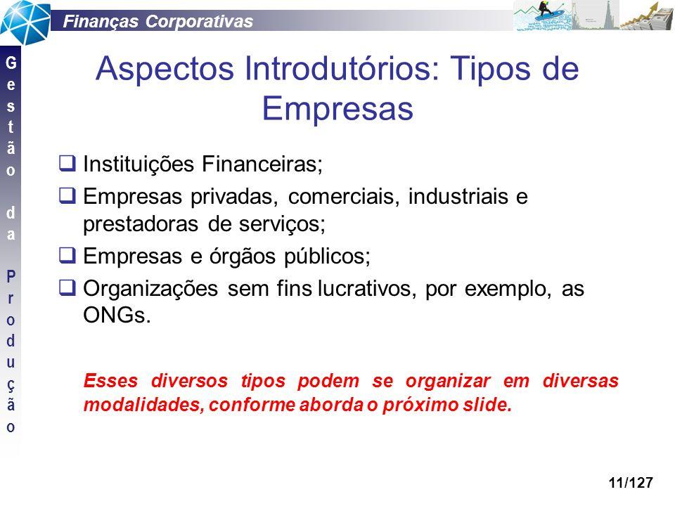 Finanças Corporativas GestãodaProduçãoGestãodaProdução 11/127 Aspectos Introdutórios: Tipos de Empresas Instituições Financeiras; Empresas privadas, c