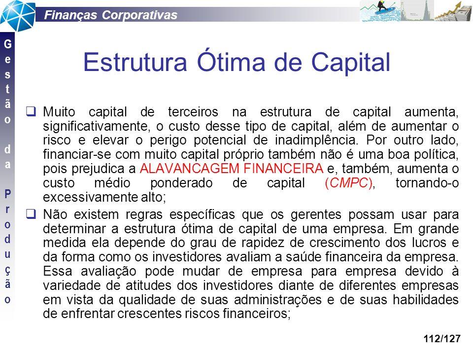 Finanças Corporativas GestãodaProduçãoGestãodaProdução 112/127 Estrutura Ótima de Capital Muito capital de terceiros na estrutura de capital aumenta,