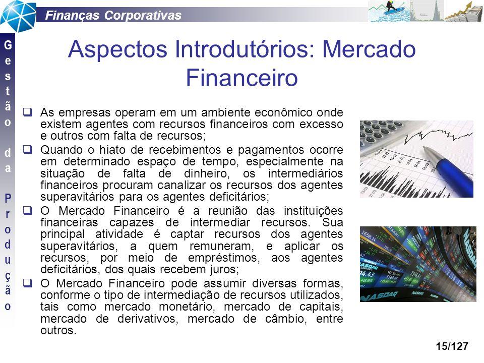 Finanças Corporativas GestãodaProduçãoGestãodaProdução 15/127 Aspectos Introdutórios: Mercado Financeiro As empresas operam em um ambiente econômico o