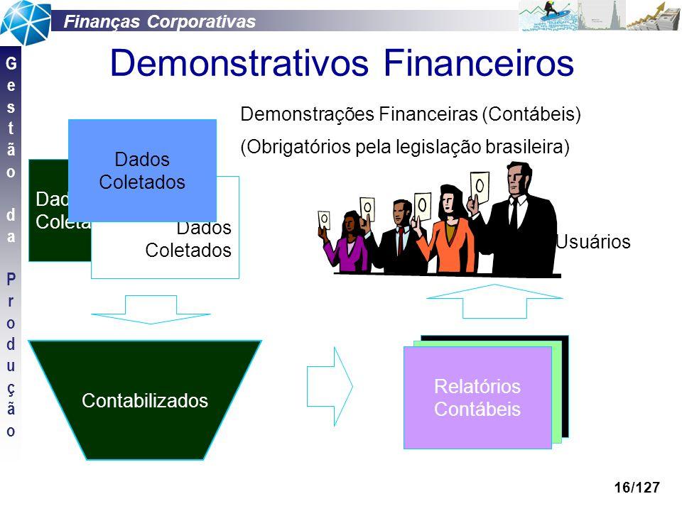 Finanças Corporativas GestãodaProduçãoGestãodaProdução 16/127 Contabilizados Relatórios Contábeis Dados Coletados Dados Coletados Dados Coletados Demo