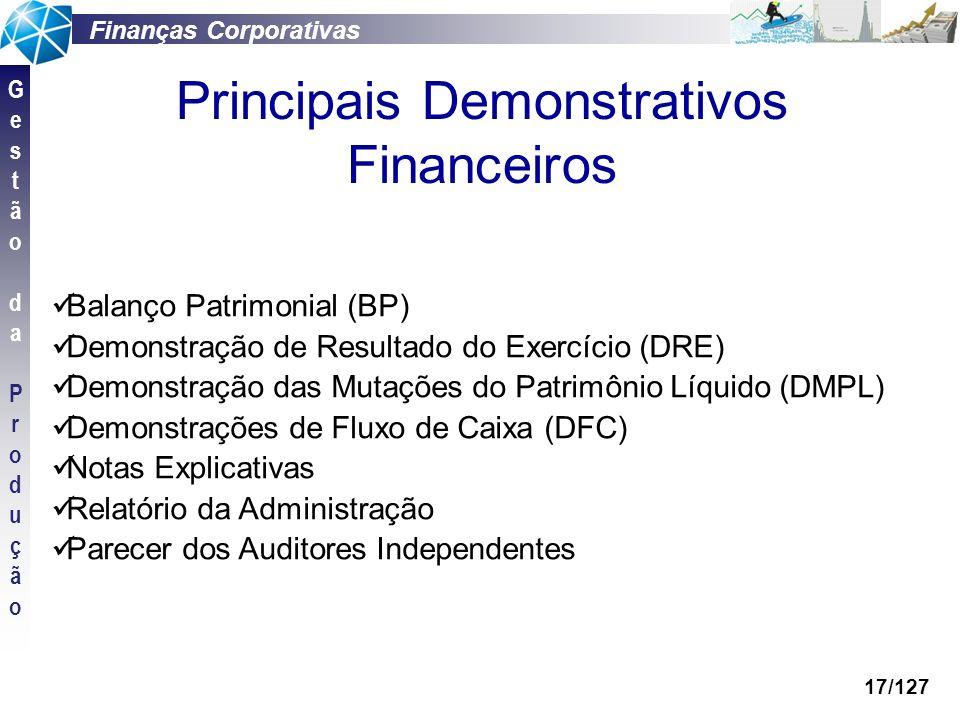 Finanças Corporativas GestãodaProduçãoGestãodaProdução 17/127 Balanço Patrimonial (BP) Demonstração de Resultado do Exercício (DRE) Demonstração das M