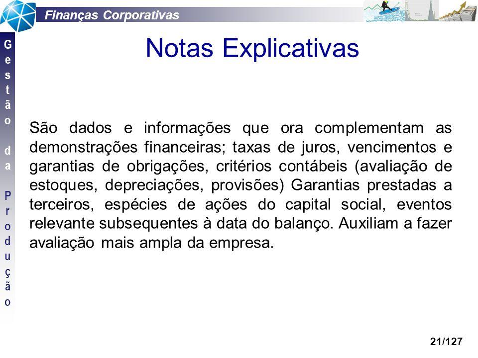 Finanças Corporativas GestãodaProduçãoGestãodaProdução 21/127 Notas Explicativas São dados e informações que ora complementam as demonstrações finance