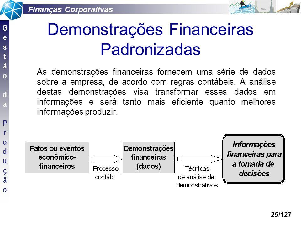 Finanças Corporativas GestãodaProduçãoGestãodaProdução 25/127 Demonstrações Financeiras Padronizadas As demonstrações financeiras fornecem uma série d