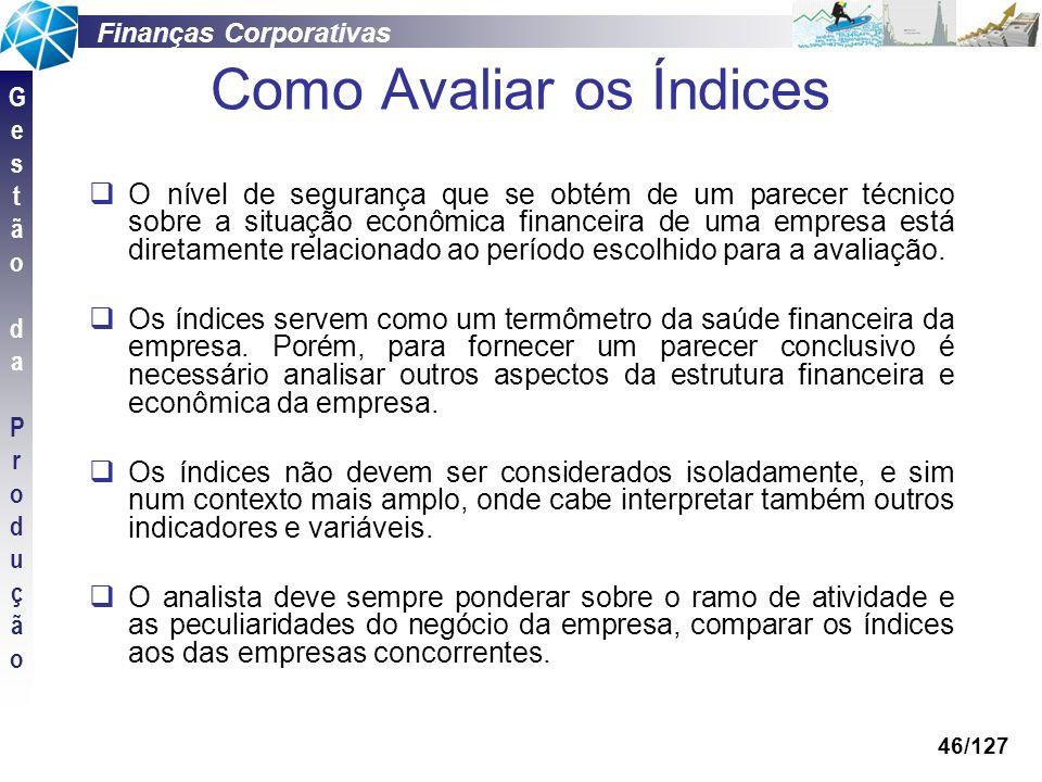Finanças Corporativas GestãodaProduçãoGestãodaProdução 46/127 O nível de segurança que se obtém de um parecer técnico sobre a situação econômica finan