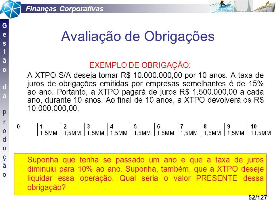 Finanças Corporativas GestãodaProduçãoGestãodaProdução 52/127 Avaliação de Obrigações EXEMPLO DE OBRIGAÇÃO: A XTPO S/A deseja tomar R$ 10.000.000,00 p