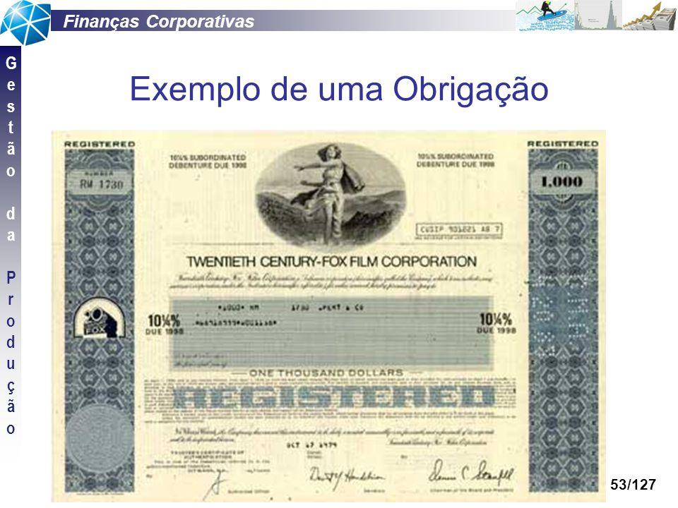 Finanças Corporativas GestãodaProduçãoGestãodaProdução 53/127 Exemplo de uma Obrigação