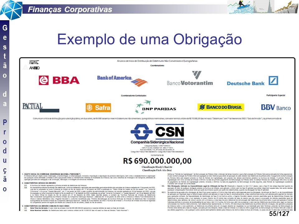 Finanças Corporativas GestãodaProduçãoGestãodaProdução 55/127 Exemplo de uma Obrigação
