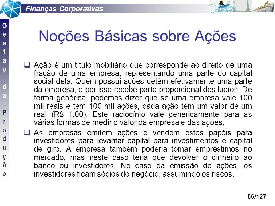 Finanças Corporativas GestãodaProduçãoGestãodaProdução 56/127 Noções Básicas sobre Ações Ação é um título mobiliário que corresponde ao direito de uma
