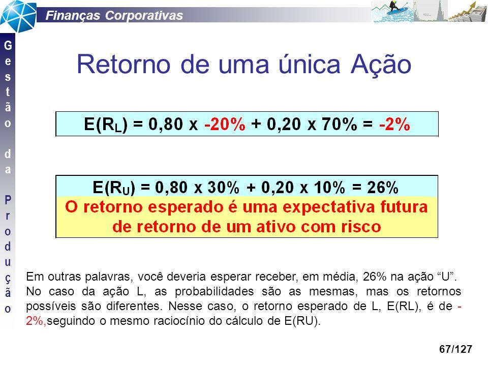 Finanças Corporativas GestãodaProduçãoGestãodaProdução 67/127 Retorno de uma única Ação Em outras palavras, você deveria esperar receber, em média, 26