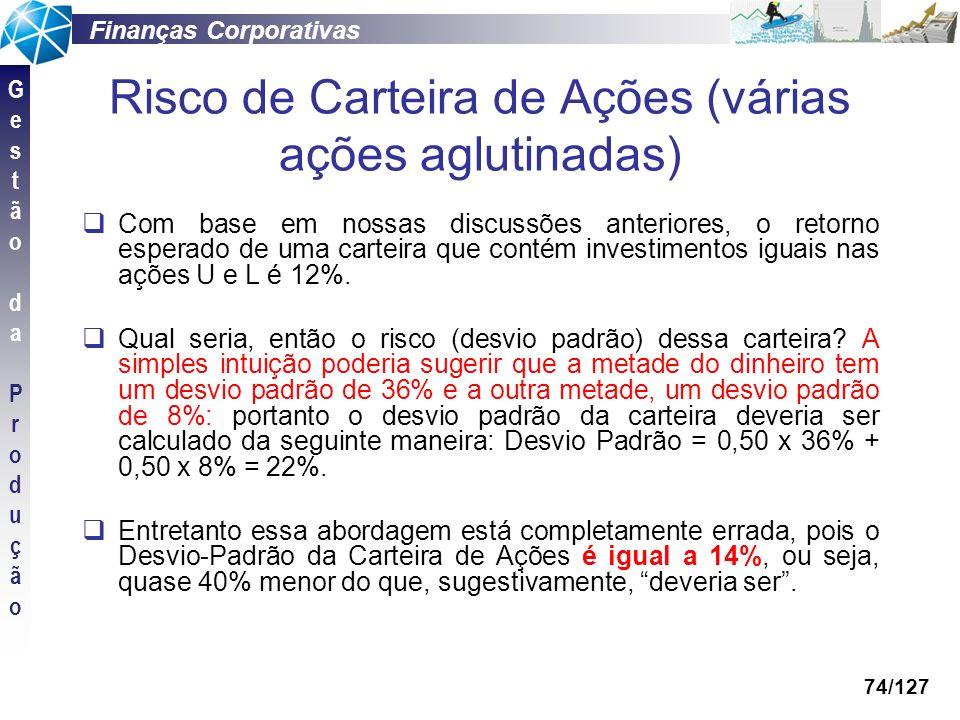 Finanças Corporativas GestãodaProduçãoGestãodaProdução 74/127 Risco de Carteira de Ações (várias ações aglutinadas) Com base em nossas discussões ante
