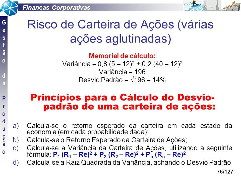 Finanças Corporativas GestãodaProduçãoGestãodaProdução 76/127 Risco de Carteira de Ações (várias ações aglutinadas) Memorial de cálculo: Variância = 0