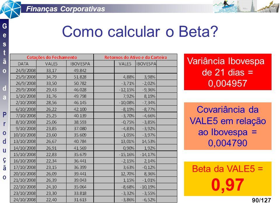 Finanças Corporativas GestãodaProduçãoGestãodaProdução 90/127 Como calcular o Beta? Variância Ibovespa de 21 dias = 0,004957 Covariância da VALE5 em r