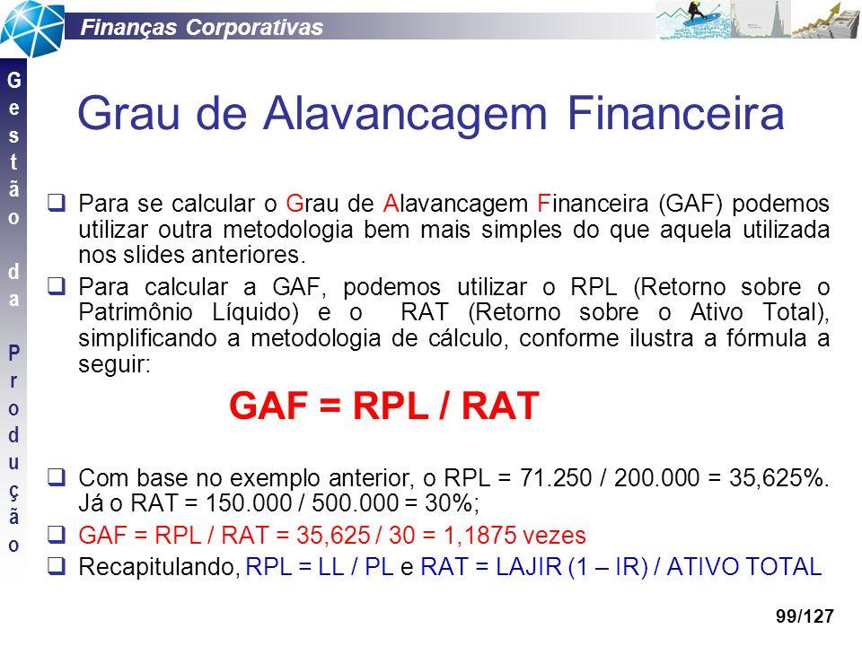 Finanças Corporativas GestãodaProduçãoGestãodaProdução 99/127 Grau de Alavancagem Financeira Para se calcular o Grau de Alavancagem Financeira (GAF) p
