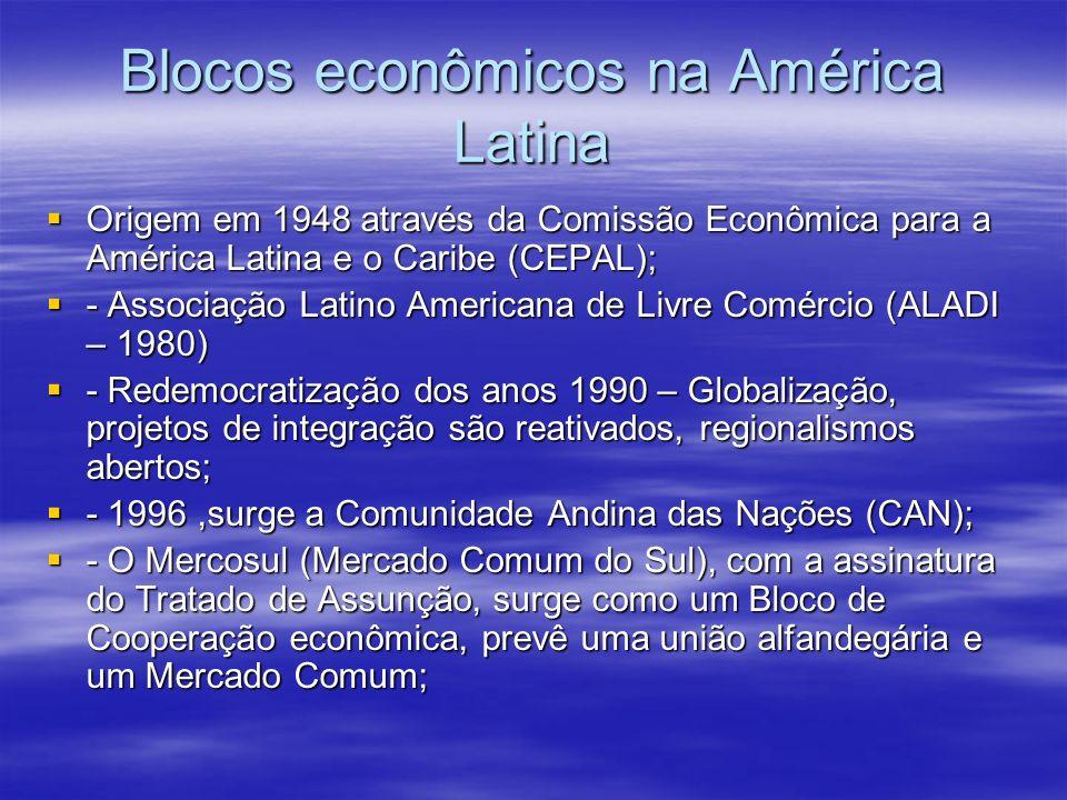 Blocos econômicos na América Latina Origem em 1948 através da Comissão Econômica para a América Latina e o Caribe (CEPAL); Origem em 1948 através da C