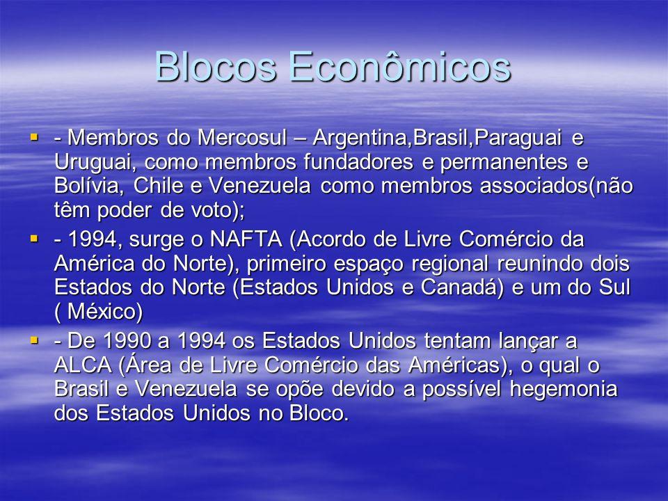 Blocos Econômicos - Membros do Mercosul – Argentina,Brasil,Paraguai e Uruguai, como membros fundadores e permanentes e Bolívia, Chile e Venezuela como