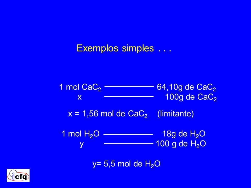 1 mol CaC 2 64,10g de CaC 2 x 100g de CaC 2 x = 1,56 mol de CaC 2 (limitante) 1 mol H 2 O 18g de H 2 O y 100 g de H 2 O y= 5,5 mol de H 2 O Exemplos s