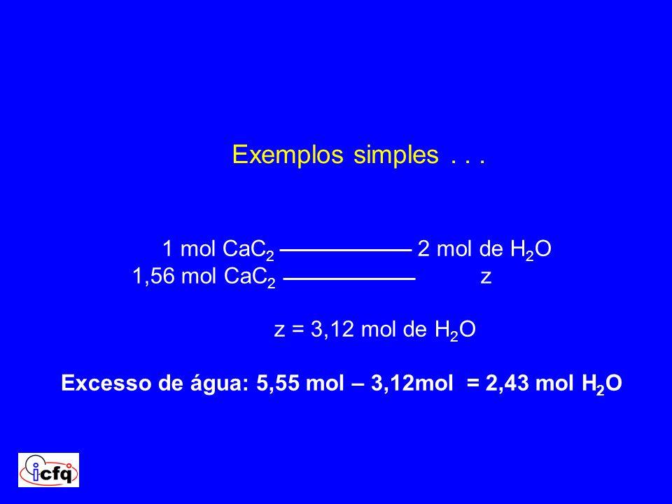 1 mol CaC 2 2 mol de H 2 O 1,56 mol CaC 2 z z = 3,12 mol de H 2 O Excesso de água: 5,55 mol – 3,12mol = 2,43 mol H 2 O