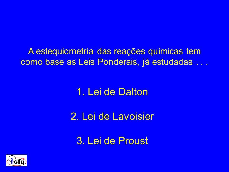 A estequiometria das reações químicas tem como base as Leis Ponderais, já estudadas... 1. Lei de Dalton 2. Lei de Lavoisier 3. Lei de Proust
