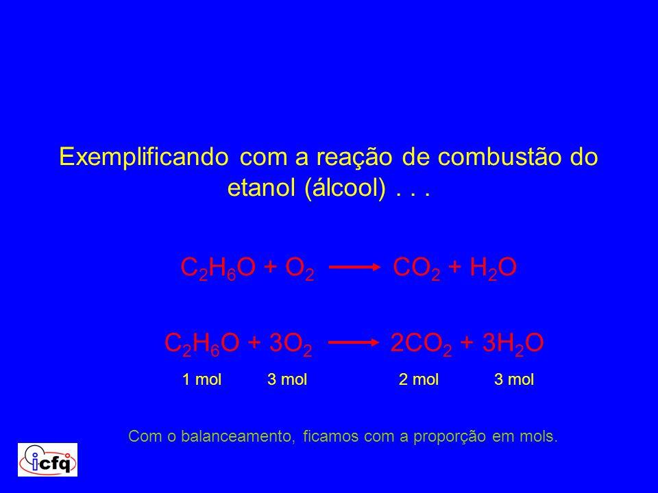 Exemplificando com a reação de combustão do etanol (álcool)... C 2 H 6 O + O 2 CO 2 + H 2 O C 2 H 6 O + 3O 2 2CO 2 + 3H 2 O Com o balanceamento, ficam