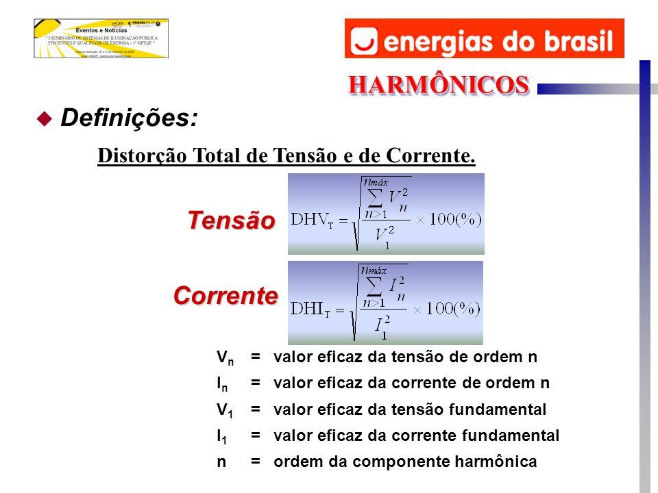 Tensão Corrente VnVn =valor eficaz da tensão de ordem n InIn =valor eficaz da corrente de ordem n V1V1 =valor eficaz da tensão fundamental I1I1 =valor eficaz da corrente fundamental n=ordem da componente harmônica u Definições: Distorção Total de Tensão e de Corrente.