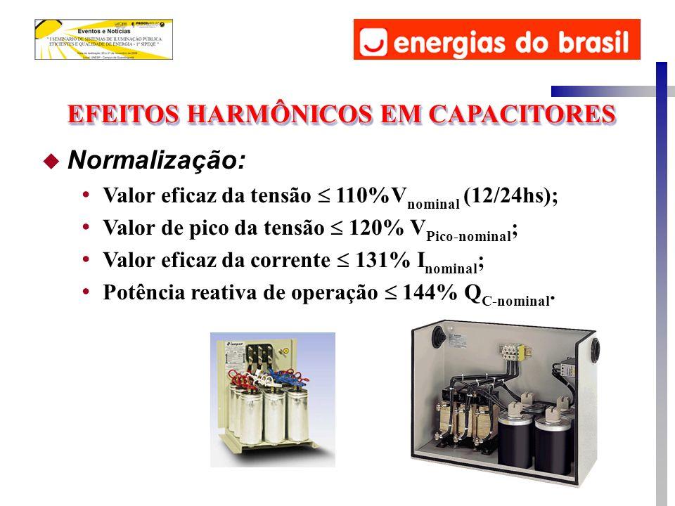u Normalização: Valor eficaz da tensão 110%V nominal (12/24hs); Valor de pico da tensão 120% V Pico-nominal ; Valor eficaz da corrente 131% I nominal ; Potência reativa de operação 144% Q C-nominal.