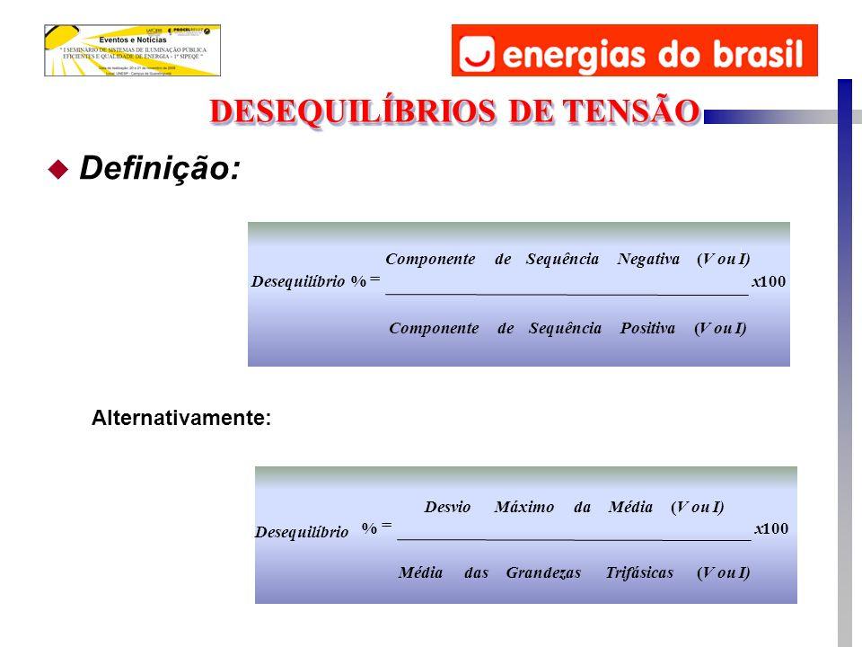 u Definição: DESEQUILÍBRIOS DE TENSÃO 100 ( ( %x V ou I)TrifásicasGrandezasdasMédia V ou I)MédiadaMáximoDesvio Desequilíbrio 100 ( ( %x V ou I)PositivaSequênciadeComponente V ou I)NegativaSequênciadeComponente Desequilíbrio Alternativamente: