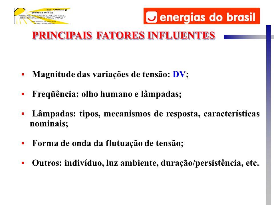 PRINCIPAIS FATORES INFLUENTES Magnitude das variações de tensão: DV; Freqüência: olho humano e lâmpadas; Lâmpadas: tipos, mecanismos de resposta, cara