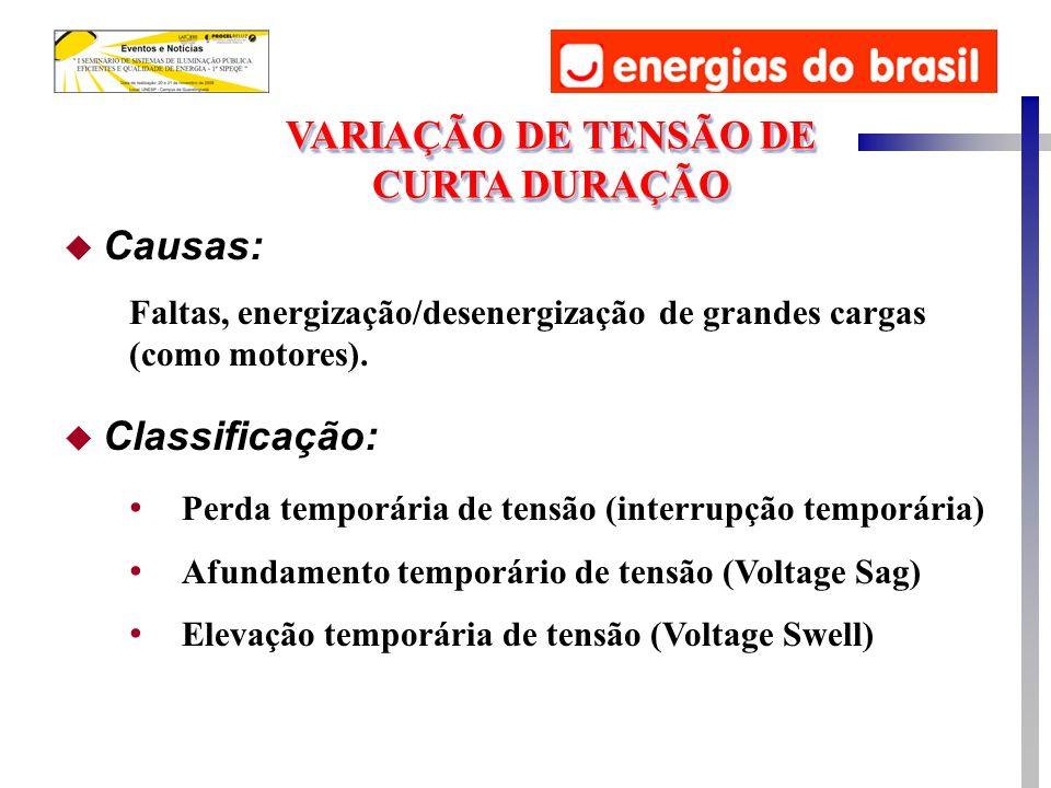 u Causas: Faltas, energização/desenergização de grandes cargas (como motores). u Classificação: Perda temporária de tensão (interrupção temporária) Af