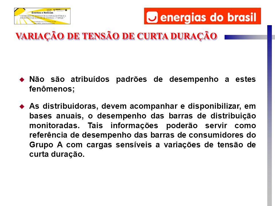 VARIAÇÃO DE TENSÃO DE CURTA DURAÇÃO u Não são atribuídos padrões de desempenho a estes fenômenos; u As distribuidoras, devem acompanhar e disponibiliz