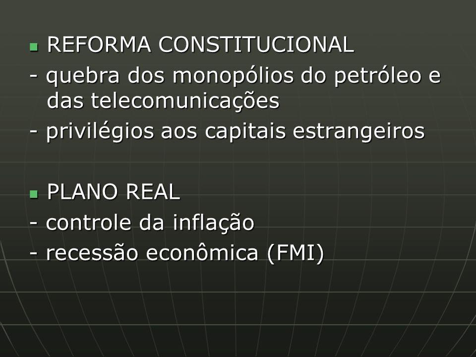 REFORMA CONSTITUCIONAL REFORMA CONSTITUCIONAL - quebra dos monopólios do petróleo e das telecomunicações - privilégios aos capitais estrangeiros PLANO REAL PLANO REAL - controle da inflação - recessão econômica (FMI)