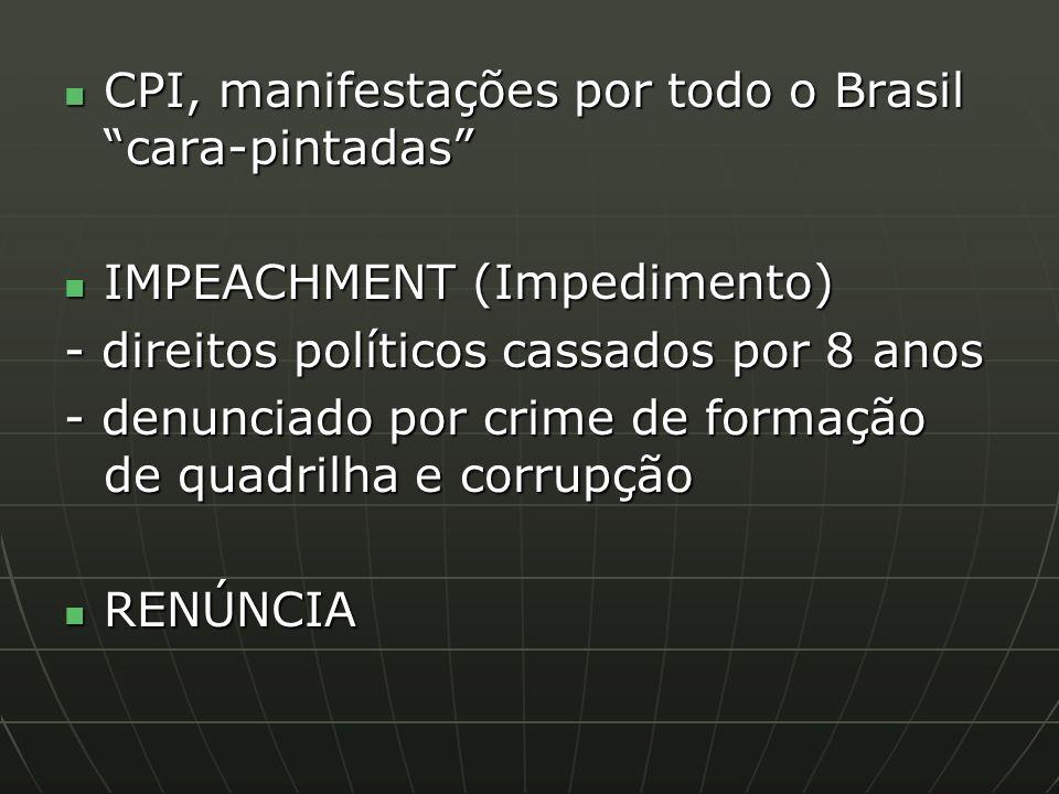 CPI, manifestações por todo o Brasil cara-pintadas CPI, manifestações por todo o Brasil cara-pintadas IMPEACHMENT (Impedimento) IMPEACHMENT (Impedimento) - direitos políticos cassados por 8 anos - denunciado por crime de formação de quadrilha e corrupção RENÚNCIA RENÚNCIA