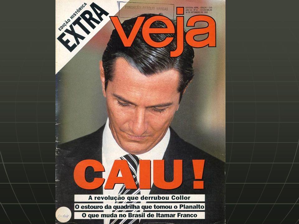 Governo Itamar Franco (1992 – 1994) - nacionalista, barra o neoliberalismo PLEBISCITO (abril-93) PLEBISCITO (abril-93) - vence o presidencialismo / república PLANO REAL PLANO REAL - aplicado em 1994, traz bons resultados - lança o ministro da fazenda, FHC, para presidente