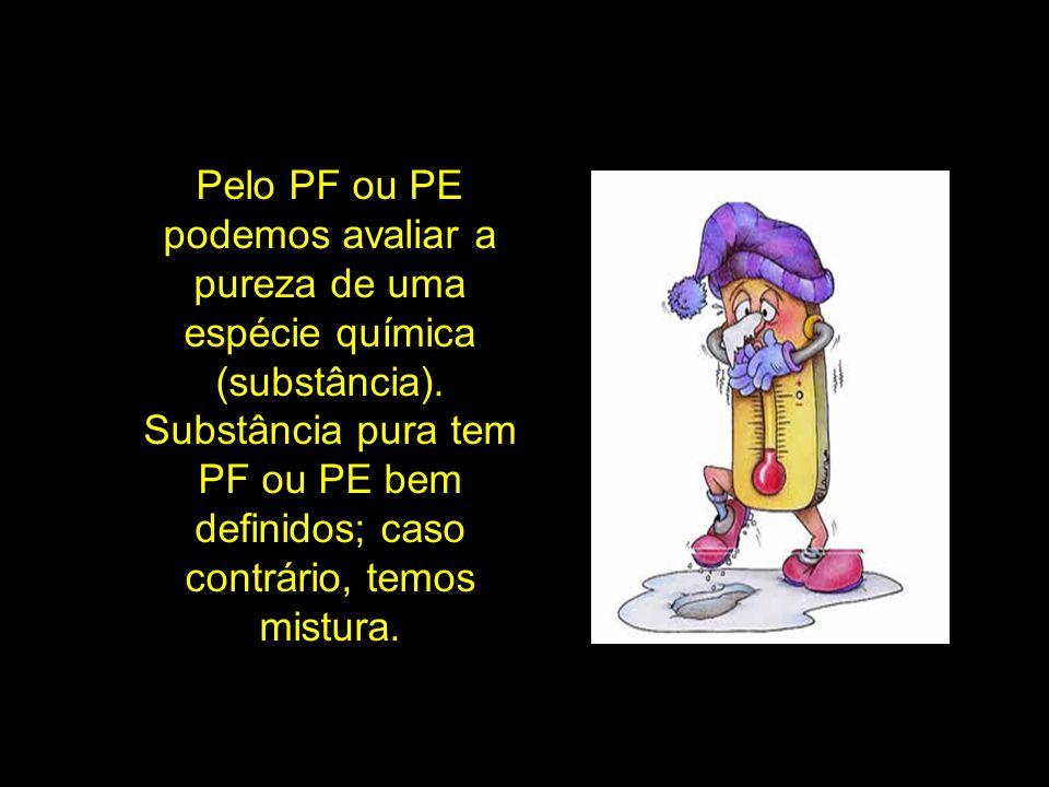 Pelo PF ou PE podemos avaliar a pureza de uma espécie química (substância). Substância pura tem PF ou PE bem definidos; caso contrário, temos mistura.