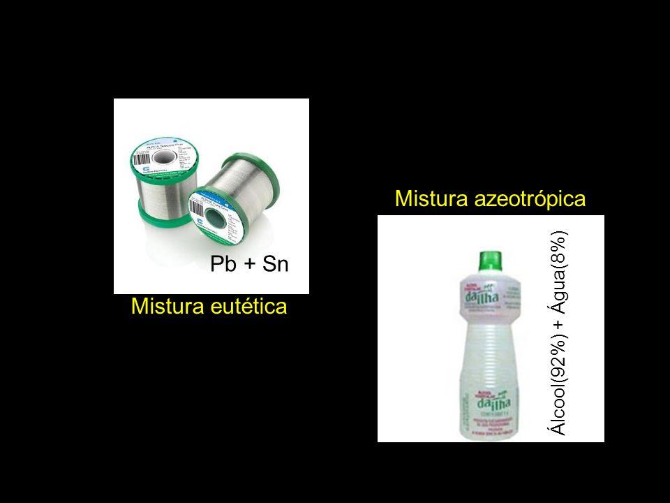 Mistura eutética Mistura azeotrópica Pb + Sn Álcool(92%) + Água(8%)