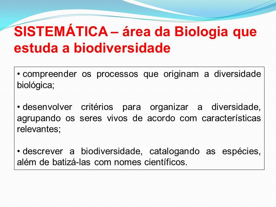 SISTEMÁTICA – área da Biologia que estuda a biodiversidade compreender os processos que originam a diversidade biológica; desenvolver critérios para o