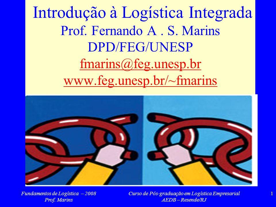 Fundamentos de Logística – 2008 Prof. Marins Curso de Pós-graduação em Logística Empresarial AEDB – Resende/RJ 1 Introdução à Logística Integrada Prof