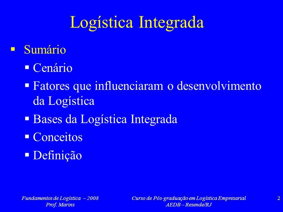 Fundamentos de Logística – 2008 Prof. Marins Curso de Pós-graduação em Logística Empresarial AEDB – Resende/RJ 2 Logística Integrada Sumário Cenário F