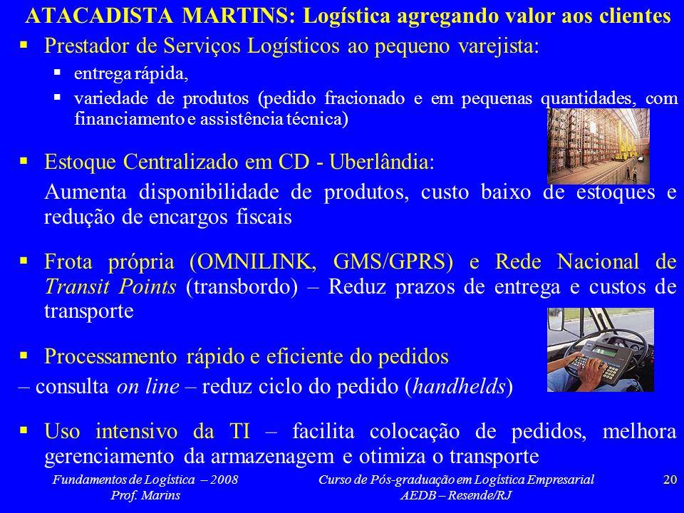 Fundamentos de Logística – 2008 Prof. Marins Curso de Pós-graduação em Logística Empresarial AEDB – Resende/RJ 20 ATACADISTA MARTINS: Logística agrega