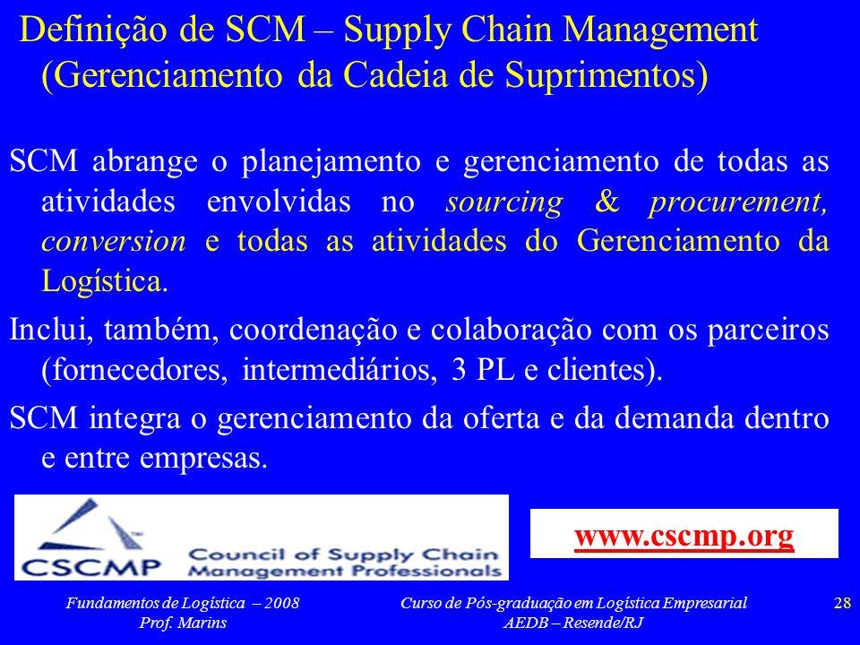 Fundamentos de Logística – 2008 Prof. Marins Curso de Pós-graduação em Logística Empresarial AEDB – Resende/RJ 28 Definição de SCM – Supply Chain Mana