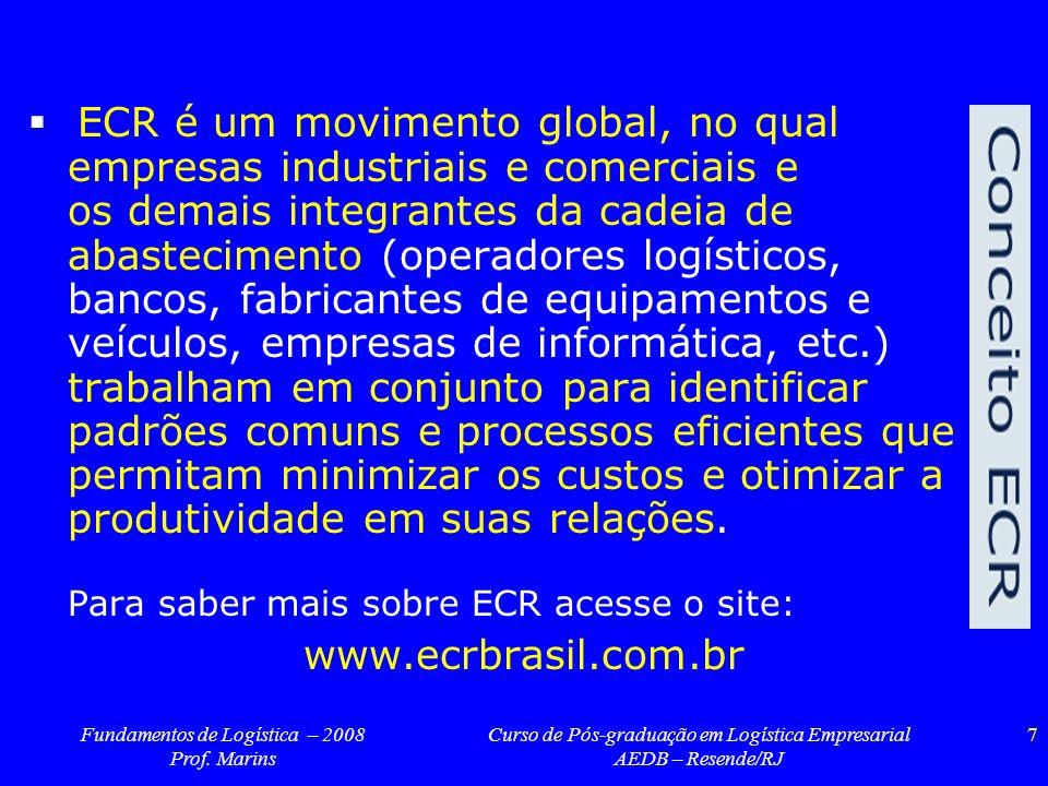 Fundamentos de Logística – 2008 Prof. Marins Curso de Pós-graduação em Logística Empresarial AEDB – Resende/RJ 7 ECR é um movimento global, no qual em