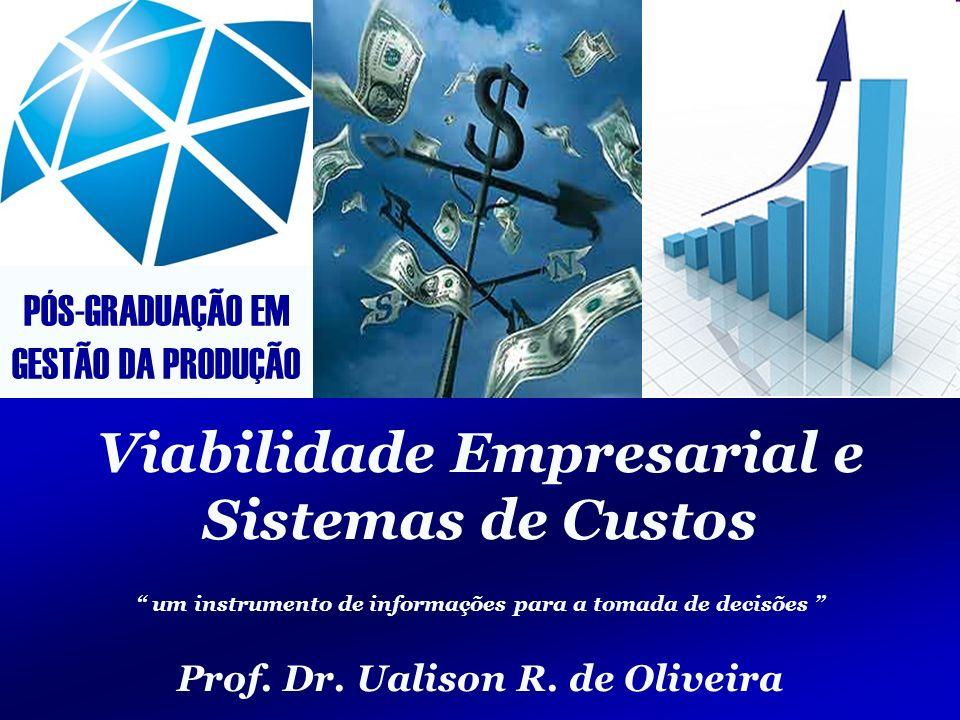 Viabilidade Empresarial e Sistemas de Custos GestãodaProduçãoGestãodaProdução 2/123 Professor Ualison Rébula de Oliveira E-mail ualison.oliveira@gmail.com