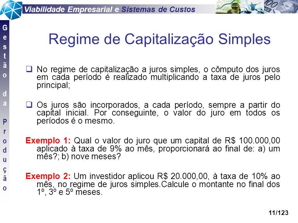 Viabilidade Empresarial e Sistemas de Custos GestãodaProduçãoGestãodaProdução 11/123 No regime de capitalização a juros simples, o cômputo dos juros e