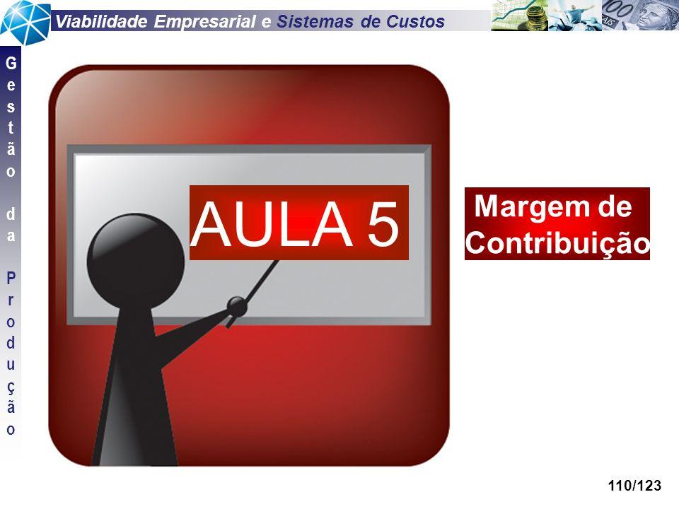 Viabilidade Empresarial e Sistemas de Custos GestãodaProduçãoGestãodaProdução 110/123 AULA 5 Margem de Contribuição