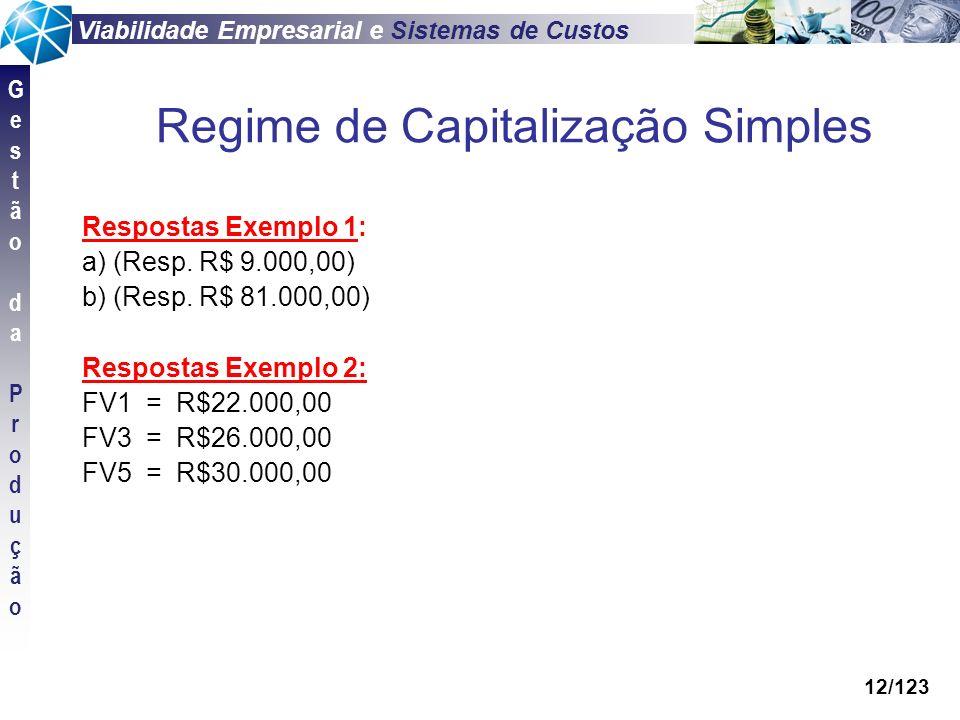 Viabilidade Empresarial e Sistemas de Custos GestãodaProduçãoGestãodaProdução 12/123 Respostas Exemplo 1: a) (Resp. R$ 9.000,00) b) (Resp. R$ 81.000,0