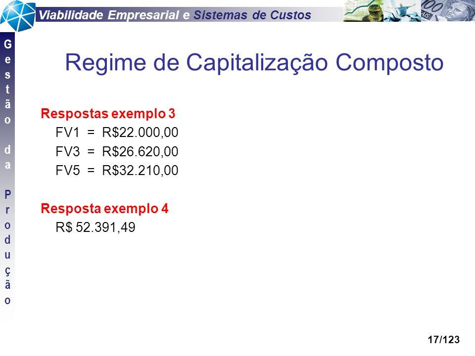 Viabilidade Empresarial e Sistemas de Custos GestãodaProduçãoGestãodaProdução 17/123 Respostas exemplo 3 FV1 = R$22.000,00 FV3 = R$26.620,00 FV5 = R$3