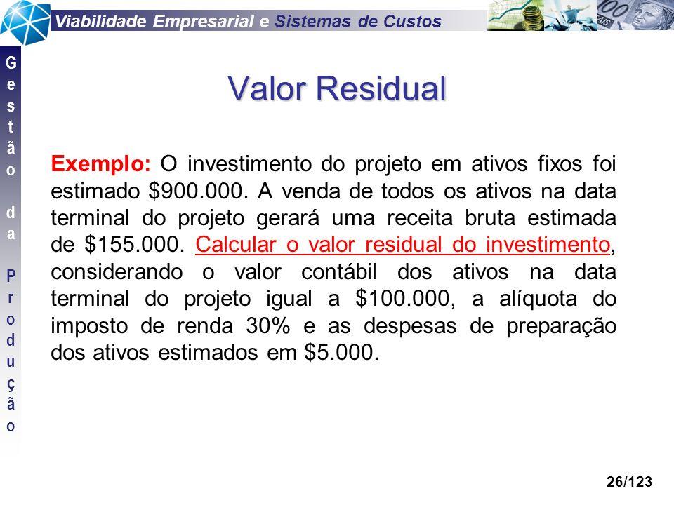 Viabilidade Empresarial e Sistemas de Custos GestãodaProduçãoGestãodaProdução 26/123 Valor Residual Exemplo: O investimento do projeto em ativos fixos