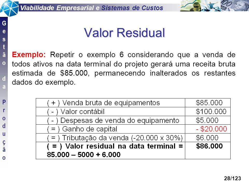 Viabilidade Empresarial e Sistemas de Custos GestãodaProduçãoGestãodaProdução 28/123 Valor Residual Exemplo: Repetir o exemplo 6 considerando que a ve